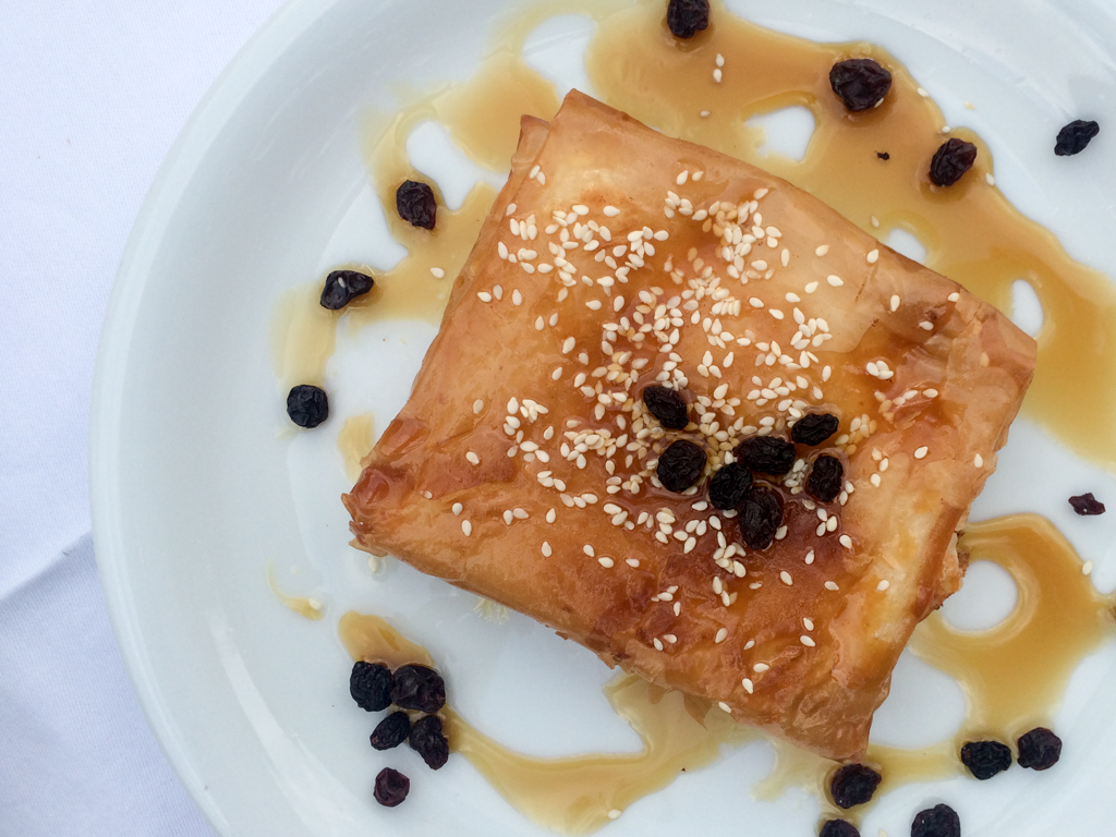 Phyllo-wrapped feta cheese in Greece