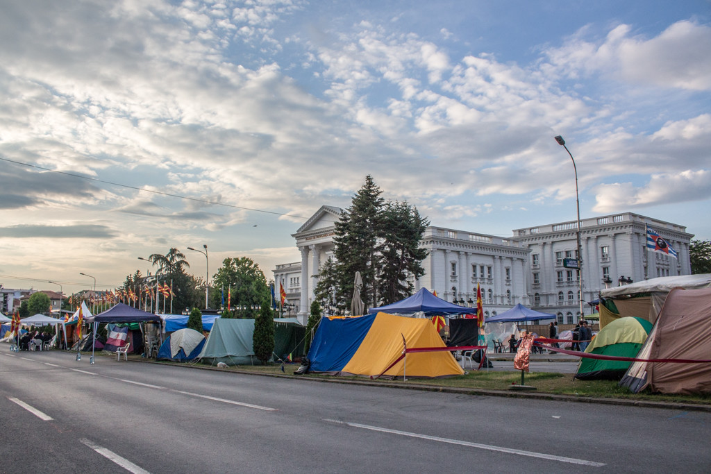 The peaceful protest taking place in front of our hostel, Skopje, Macedonia