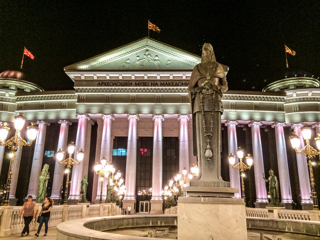Maria Teresa monument in front of the National Museum, Skopje, Macedonia