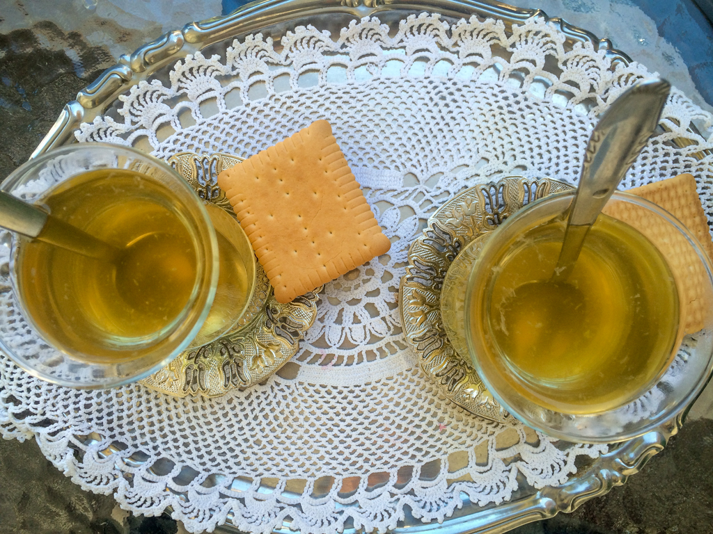 Drinking tea in Ohrid, Macedonia