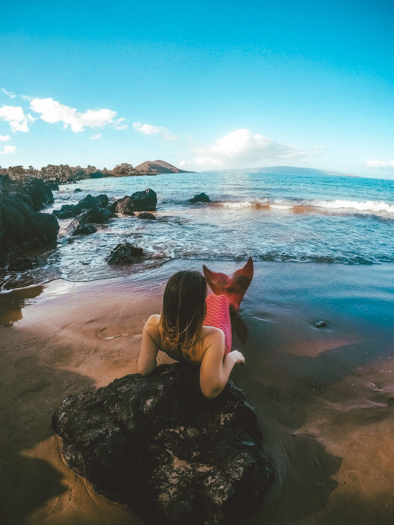 Becoming a mermaid on a Maui mermaid tour!