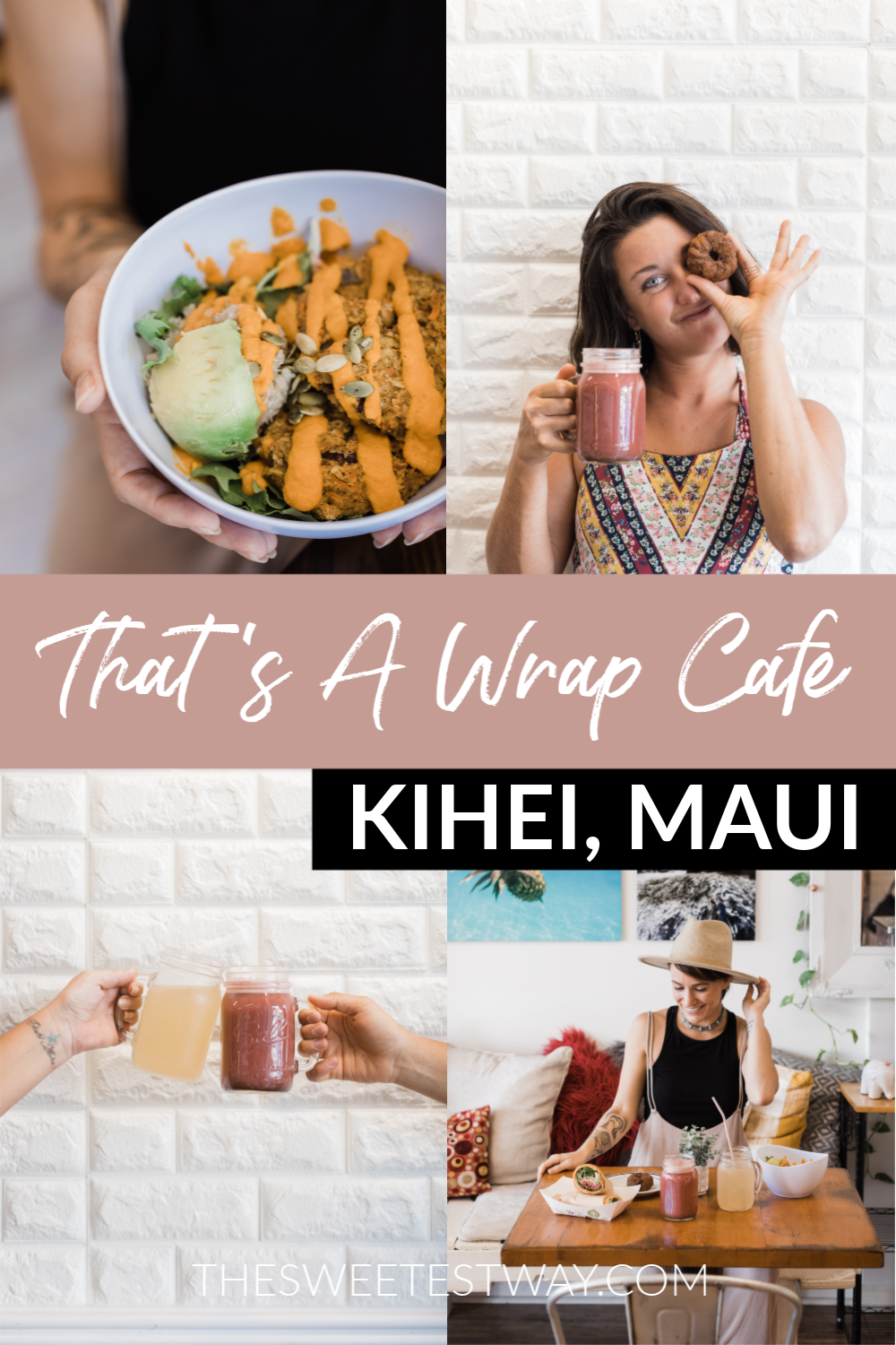 Healthy food in Kihei, Maui at That's A Wrap Cafe. Vegetarian and vegan-friendly, fresh local ingredients, kombucha on tap, gluten-free options, and delicious healthy desserts! Located in South Kihei.