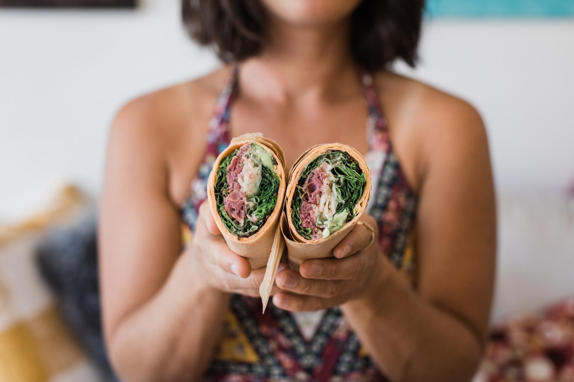 Healthy vegan wraps at That's A Wrap Cafe, Kihei, Maui